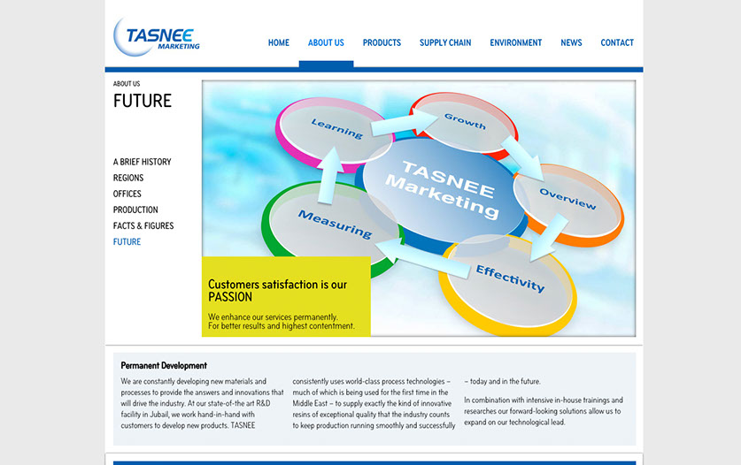 Tasnee Marketing Webseite