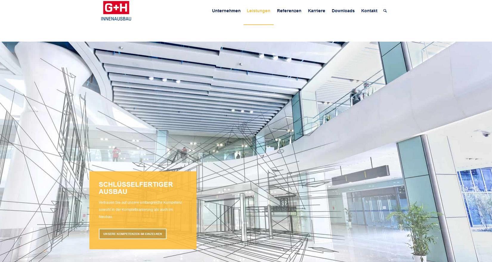 G + H Innenausbau Webseite