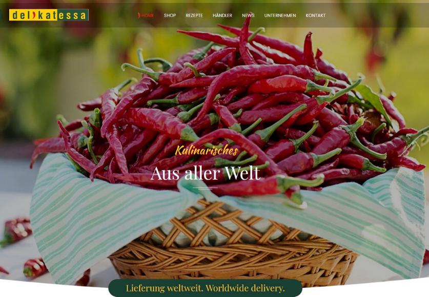 Delikatessa Webshop Landingpage