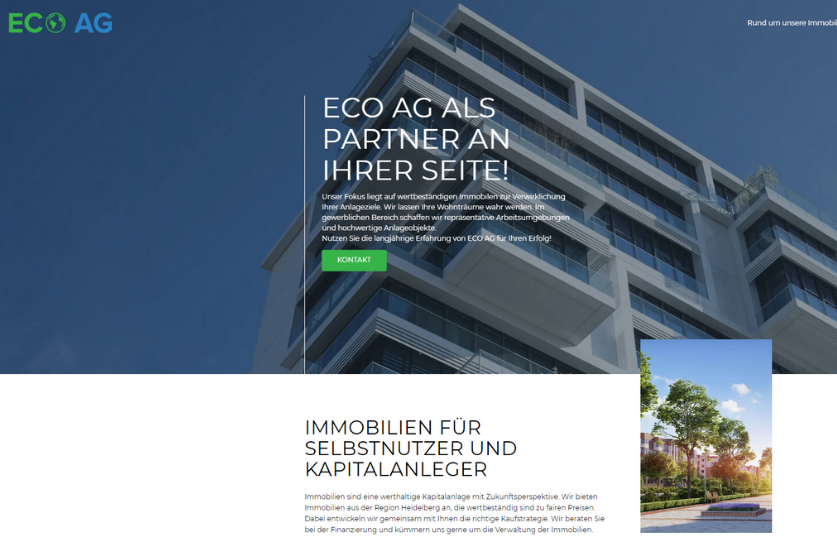 ECO AG Website Vorschau