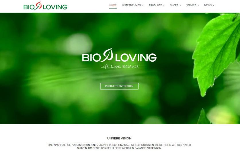 Bioloving Webshop Titelseite